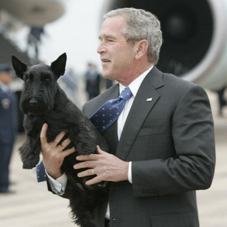 President Bush and Barney. Photo by Paul Morse, courtesy of the George W. Bush Presidential Library & Museum.
