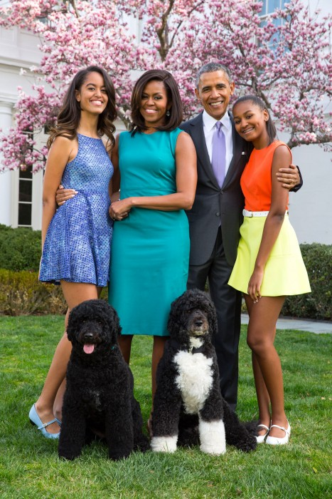 President Barack Obama, First Lady Michelle Obama, and daughters Malia and Sasha pose for a family portrait with Bo and Sunny in the Rose Garden of the White House, April 5, 2015.