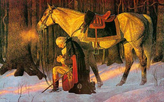 George Washington kneeling by horse