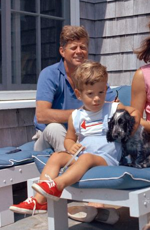John F. Kennedy with son and Shannon.