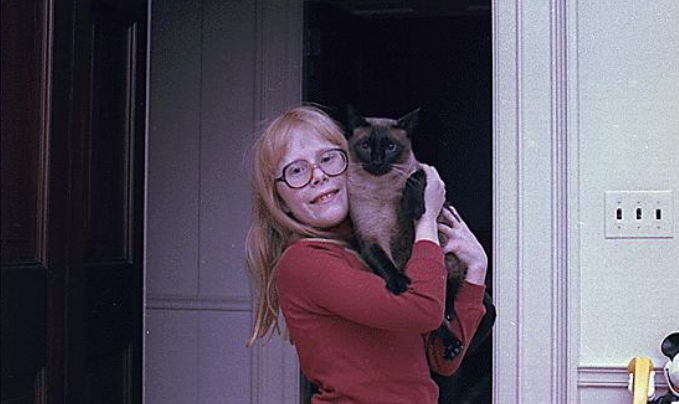 Amy Carter with Misty Malarky Ying Yang, Jan. 20, 1977.